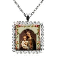 Religious Virgin Mary Child Jesus Necklace Holy Mother Ornate Rhinestone Pendant Christian Necklace