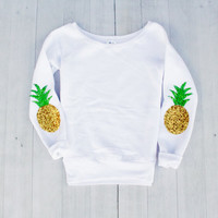 Womens Pineapple Elbow Patch Sweatshirt Jumper