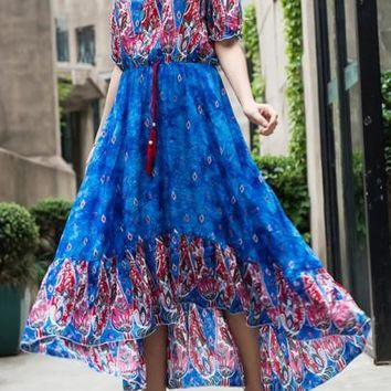 Light Sapphire Blue Floral Drawstring Irregular Boat Neck Maxi Dress