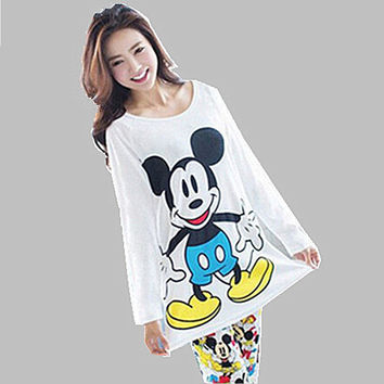 Animal Cartoon Pajamas pyjama femme Spring Autumn Winter pijamas women pyjama set Cotton pajamas home clothes for women Q0155