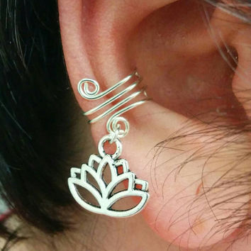 Ear Cuff, Ear Wrap, Simple Ear Cuff, Lotus Flower Charm, Helix Accessory, Cartilage Earring, No Pierce Jewelry, Helix Cuff, Cartilage Cuff