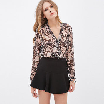 Chiffon Floral Printed Slim Long Sleeve V Neck Sexy Erotic _ 1595