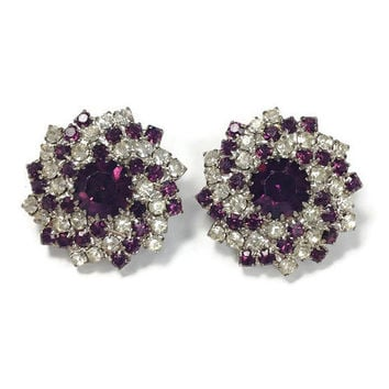 1950s Earrings, Vintage Faux Amethyst and Rhinestone Spiral Cluster Clip Back Earrings, Hollywood Regency