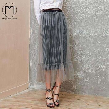 DCCKON3 Margin Point Version New 2018 Women's Velevt tulle Saia long pleated Skirt Casual Skirts Classy Ladies High Waist etek Skirts