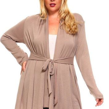 Plus Size Belted Wrap Knit Cardigan in 8 Colors