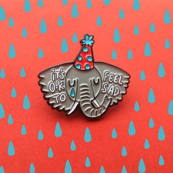 Sad Elephant - Soft Enamel Pin - It's Ok to be sad - Mental Health - Cry