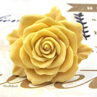 Heritage Rose Ring  Pre Order  Huge Creamy Yellow by lizhutnick