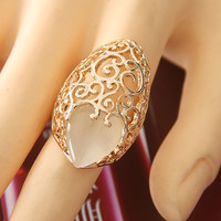 Opal Heart On The Vine Statement Ring (Gold)