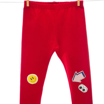 Red cartoon patch pants