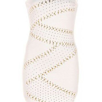The One Shoulder White Studs Dress - 29 N Under