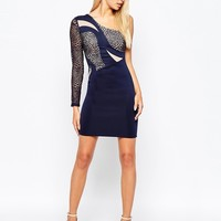 Lipsy One Shoulder Illusion Dress With Lace Detail at asos.com