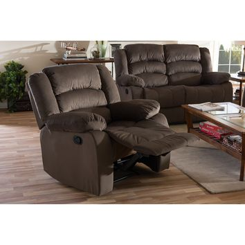 Baxton Studio Hollace Modern and Contemporary Taupe Microsuede 1-Seater Recliner Set of 1