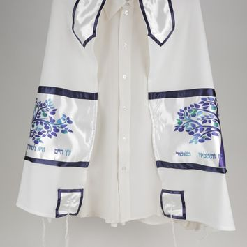 Enchanting Blue Tree of Life Viscose Tallit, Bar Mitzvah Tallit