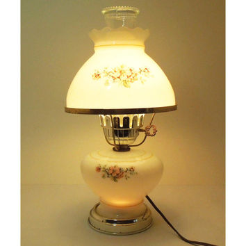 Vintage hurricane lamp - White glass hurricane lamp with flowers - Cottage chic lighting decor night light