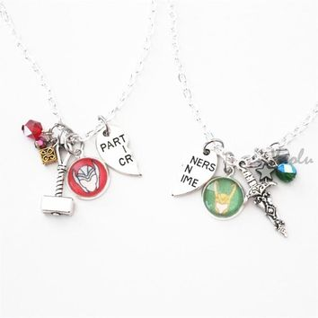 6pair/lot Thor Loki BFF Necklaces Marvel Comic Inspired Jewelry Friendship Partners in Crime Best Friend necklace