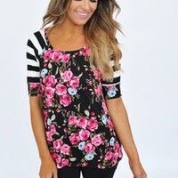 Floral Stripe Sleeve Top- Black