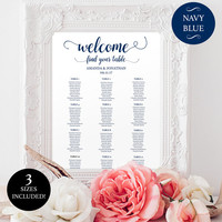 Printable wedding seating chart for reception - Reception Seating Chart - Downloadable Navy & White wedding seating chart  - #DPI1248