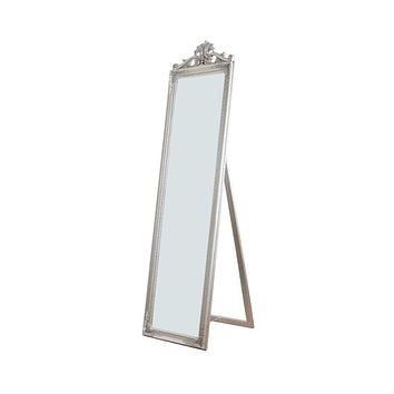 Gisela Full Length Standing Mirror with Decorative Design, Silver