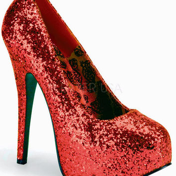 "Teeze 06GW  1.5"" Platform Red Glitter Wide Pumps - 5.75"" Heels"