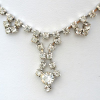 "Vintage Clear Rhinestone Silver Necklace 15.5"" Long Wedding Jewelry Prom"