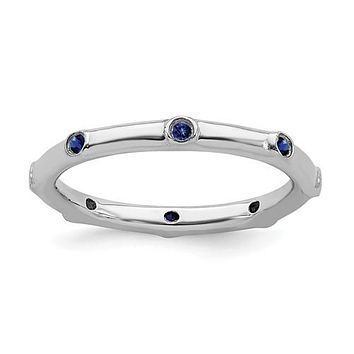 Sterling Silver Stackable Expressions Created Blue Sapphire Ring