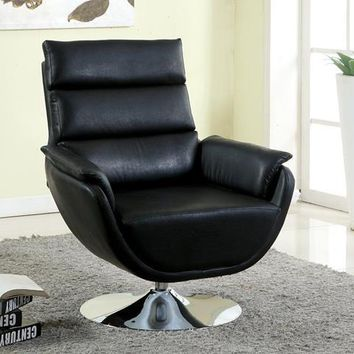 Pilsner Contemporary Leatherette Swivel Accent Chair in Black