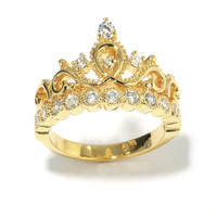 Yellow Gold-plated Sterling Silver Crown Ring / Princess Ring