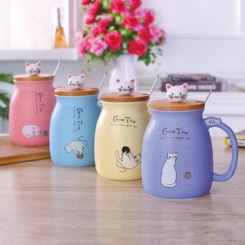 Kitten Milk or Coffee Heat Resistant Ceramic Mug with Bamboo Lid and Spoon