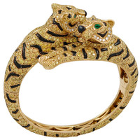 CARTIER Fancy Yellow Diamond, Onyx and Emerald Two Headed Tiger Bangle