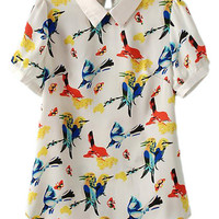 ROMWE Bird Print Asymmetric Lapel Contrast Trimming Blouse