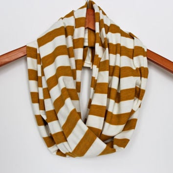 Circle Infinity Scarf in Mustard Yellow Stripe - Loop Jersey Knit Scarf - Eternity Scarf