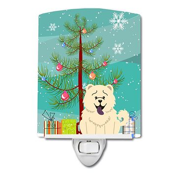 Merry Christmas Tree Chow Chow White Ceramic Night Light BB4265CNL