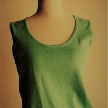 Women vest tank top without sleeves round neck color green 60 s Uni pure cotton * For women a sleeveless sweater 100% cotton