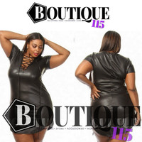 "Plus Size ""Black Out "" Faux Leather Front Tie Dress"