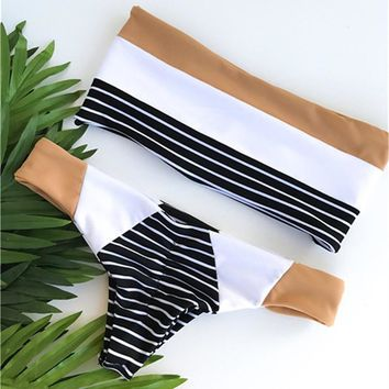 Fashionable and hot sell black and white color striped swimsuit vintage bandage swimsuit sexy two-piece set of chest bikini
