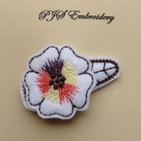 White Felt Flower With Brown Yellow and Burnt Orange Verirgated Thread Snap Clip Barrette