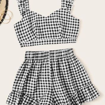 Plus Gingham Print Frill Trim Crop Top & Shorts