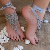 Bridal wedding shoes Gray silver crochet barefoot sandals, sandal wedding foot jewelry, Sexy,  Lolit