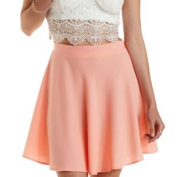 Coral High-Waisted Crepe Skater Skirt by Charlotte Russe