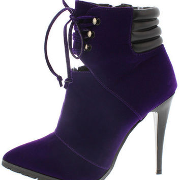 SHARAN14 DARK PURPLE POINTED ANKLE BOOT