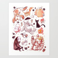 Ghibli Creatures Art Print by Cosmic Spectrum