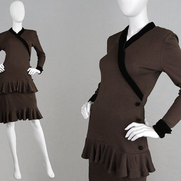 Vintage 70s 80s OSCAR De La RENTA Italian Made Brown Knit Dress Ruffle Dress Tiered Dress Black Velvet Trim Knee Length Smart Office Dress