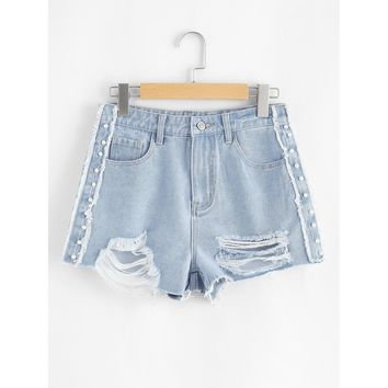 Pearl Detail Raw Trim Ripped Denim Shorts