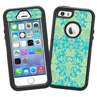 "Vintage Blue Green Damask ""Protective Decal Skin"" for OtterBox Defender iPhone 5s Case"