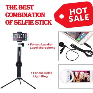 Selfie Stick, Foneso Extendable Monopod with Bluetooth Remote and Tripod Stand