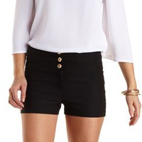 Stretchy High-Waisted Shorts by Charlotte Russe - Black