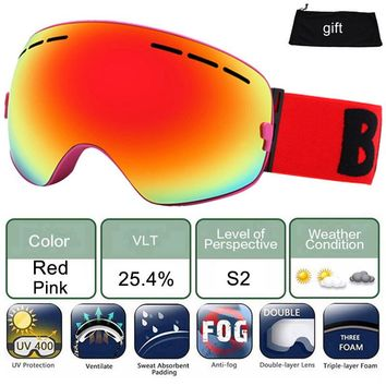 LOCLE Ski Glasses Double Lens UV400 Anti-fog Ski Goggles Snow Skiing Snowboard Motocross Goggles Ski Masks or Eyewear