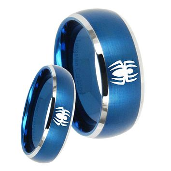 His Hers Spiderman Dome Brushed Blue 2 Tone Tungsten Mens Ring Engraved Set