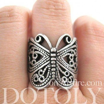 Classic Butterfly Shaped Wrap Around Ring with Cut Out Details in Silver
