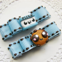 Hair Clips Cookies and Milk Hair Clips Baby Bows for Babies Girls Teens and Adults Kawaii Fashion